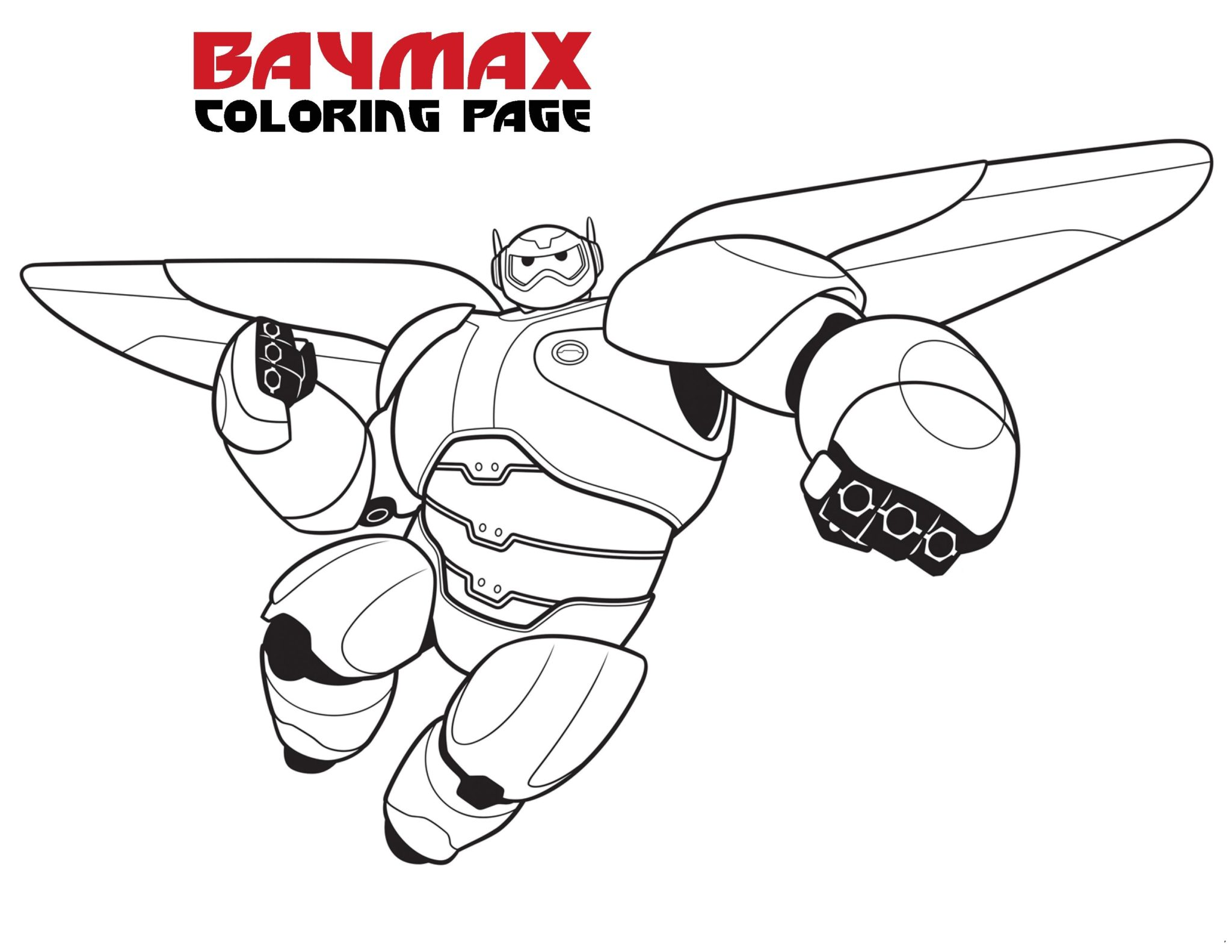 Printable big hero 6 baymax coloring pages for kids
