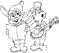 Printable Christmas 2 Mouse Carollers singing coloring pages