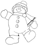 Printable Christmas Happy Snowman coloring page