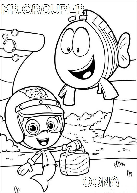 bubble guppies mr grouper and Oona coloring pages