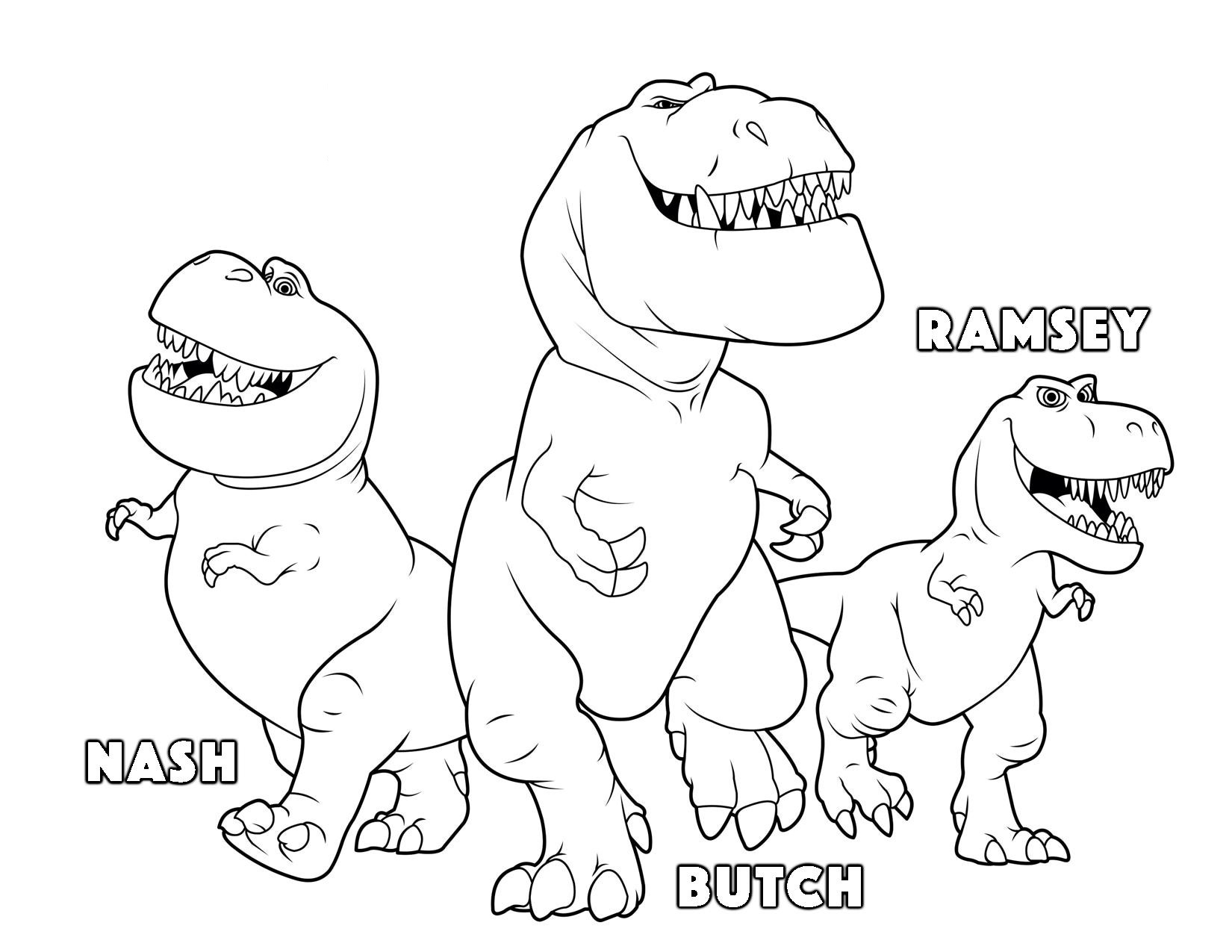 Printable the good dinosaur Butch Ramsey Nash coloring pages for kids