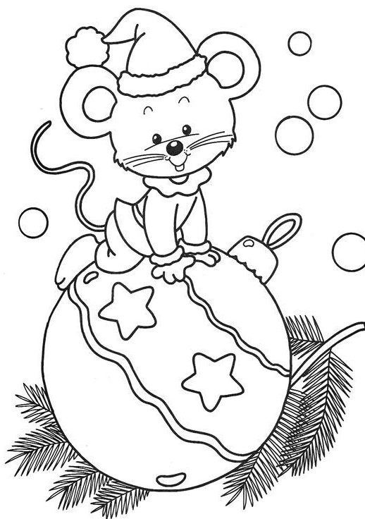 christmas mouse coloring pages printable