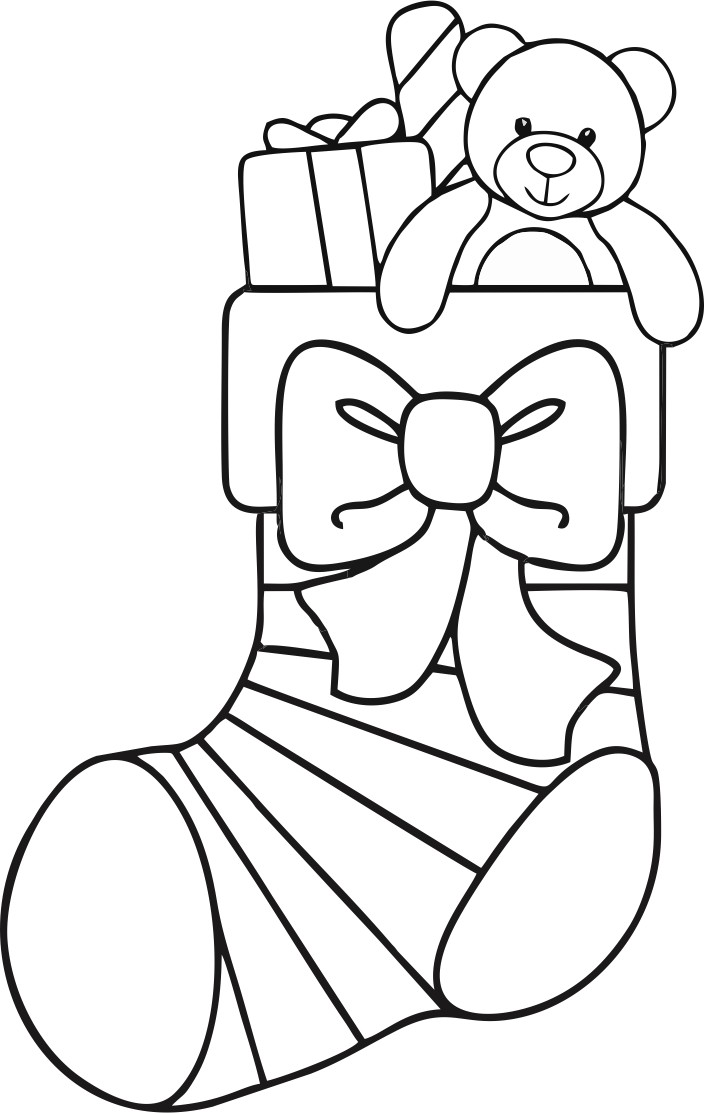 christmas stocking easy coloring pages