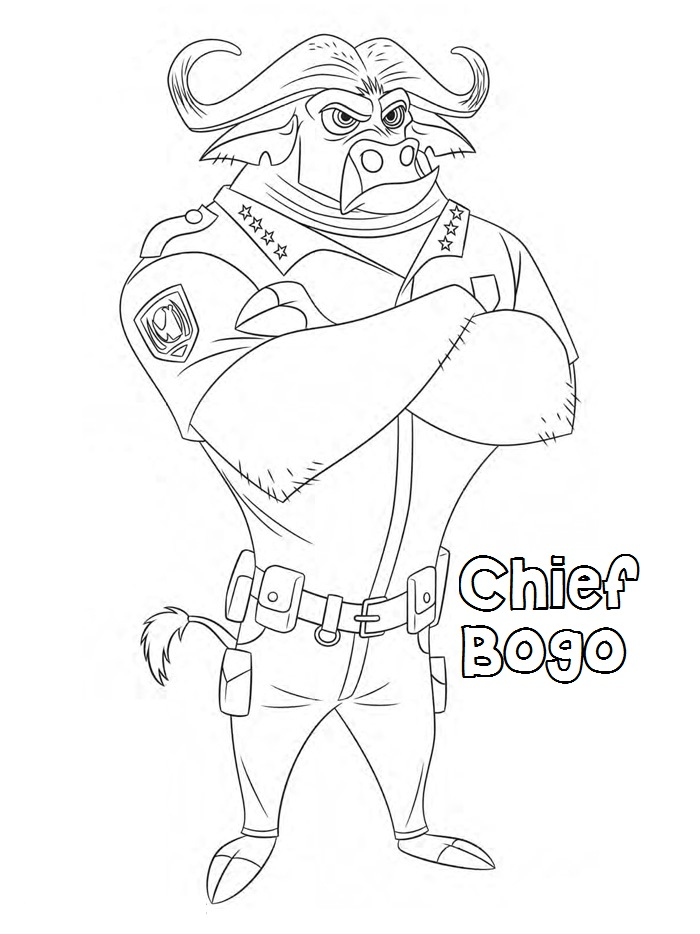 zootopia coloring pages chief bogo for kids Kids Coloring Pages