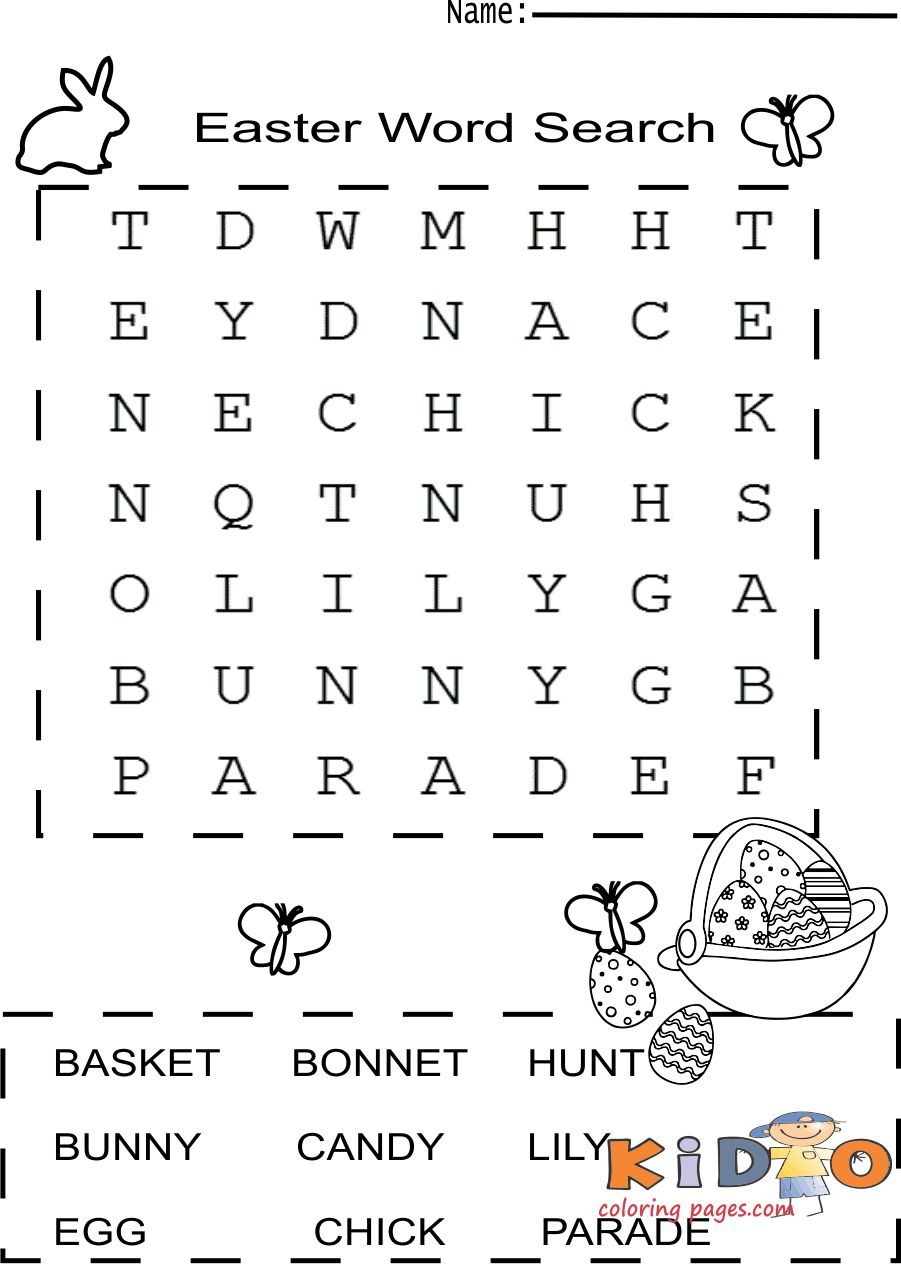 Easter Word Search print out for kids