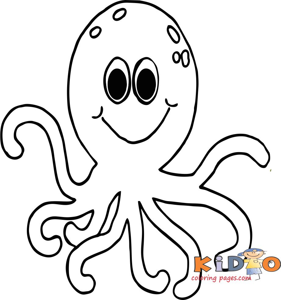 Octopus coloring in pages Print out