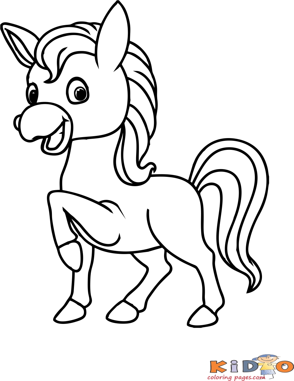 Coloring in page pony print out for kids