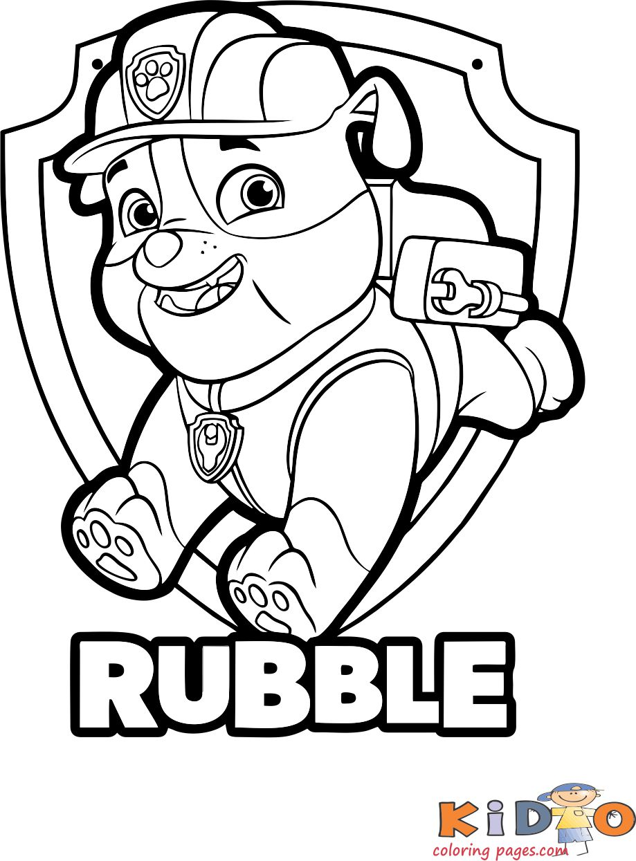 Paw Patrol Rubble Coloring Pages to print