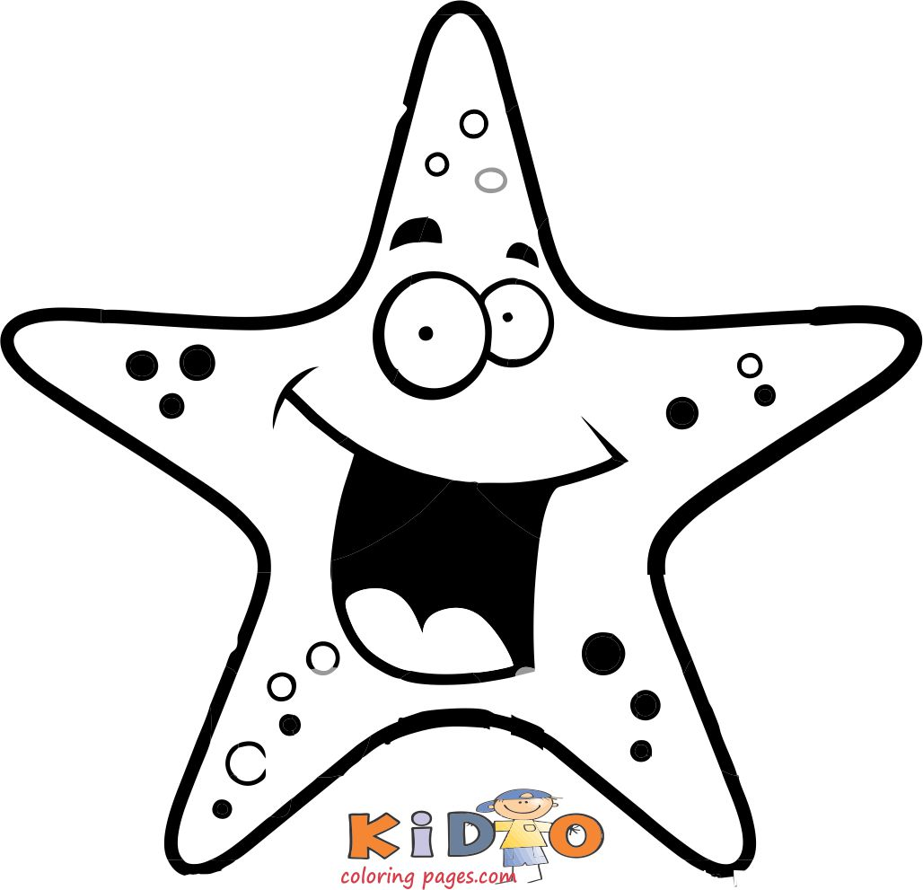 Starfish coloring in page for kids