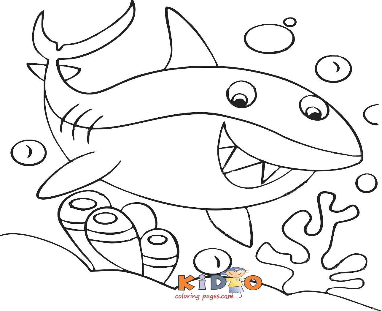 sharks colouring in pages for kids print out