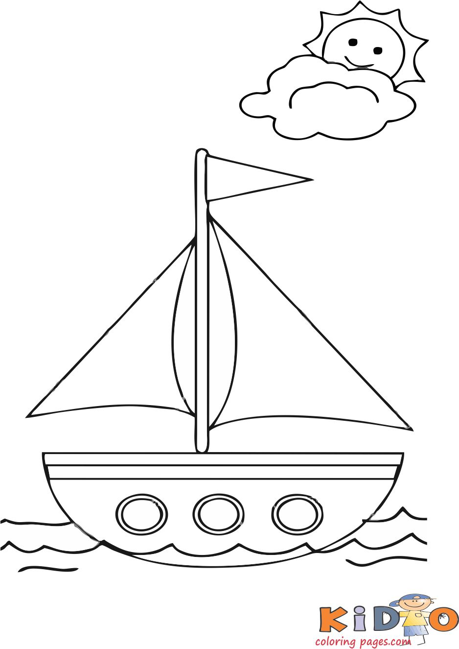 Summer boat coloring pages for kids