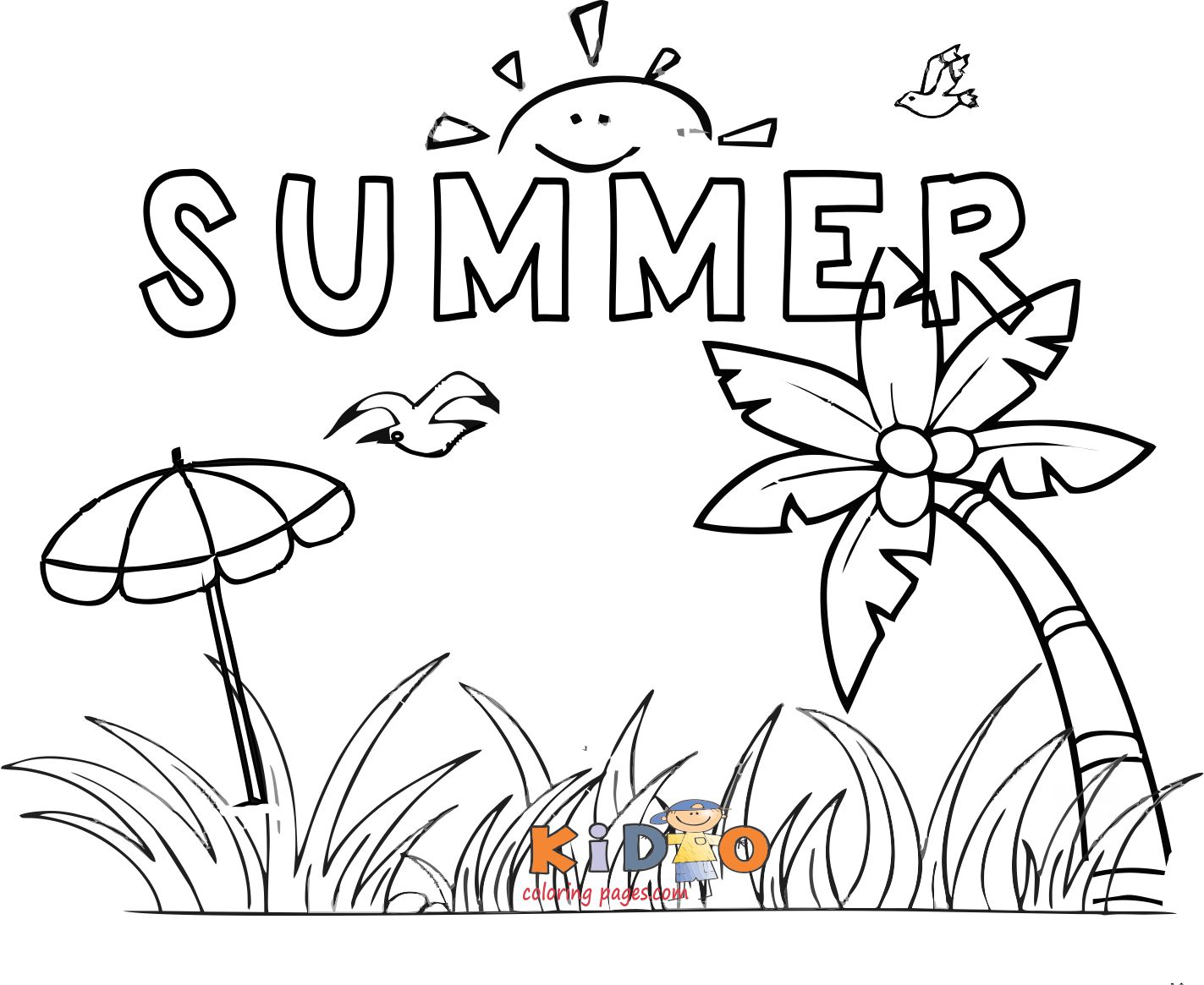 Summer holidays coloring pages printable