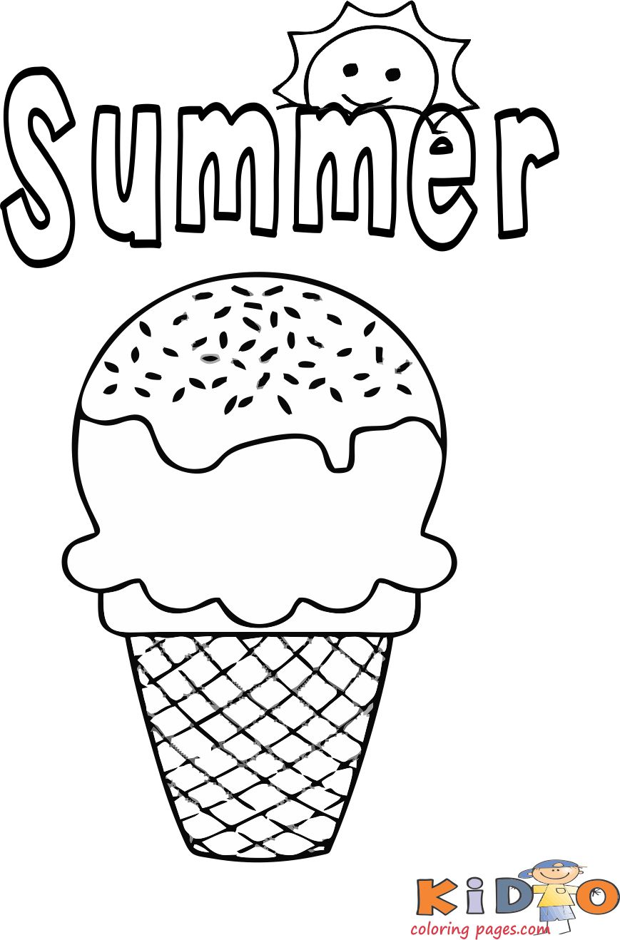 Summer ice cream coloring pages for kids