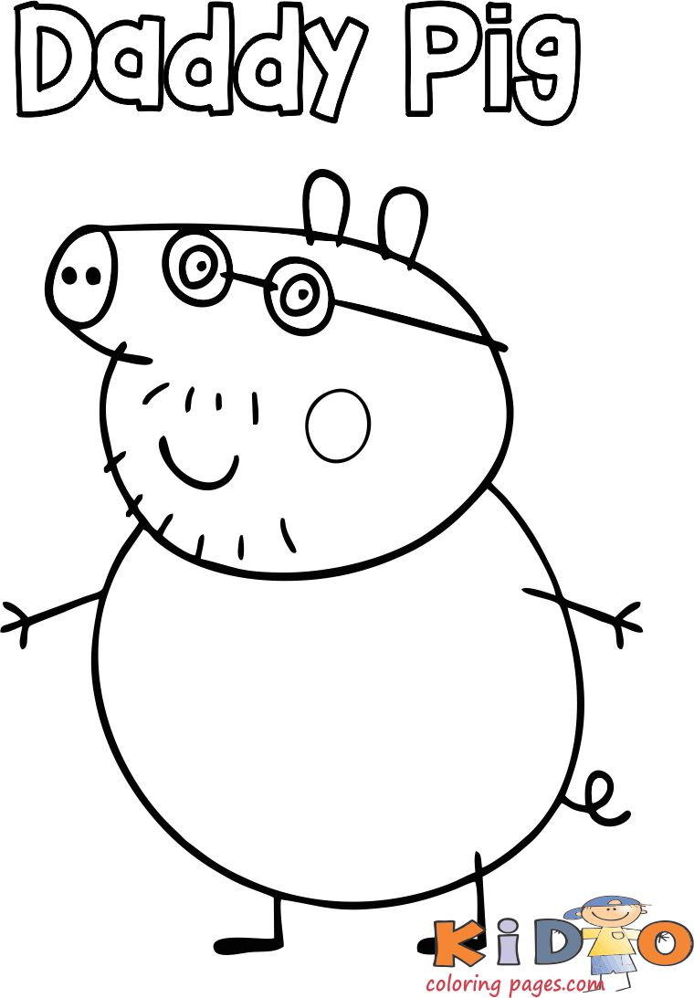 Daddy Pig coloring pages for kids - Kids Coloring Pages Peppa drawing