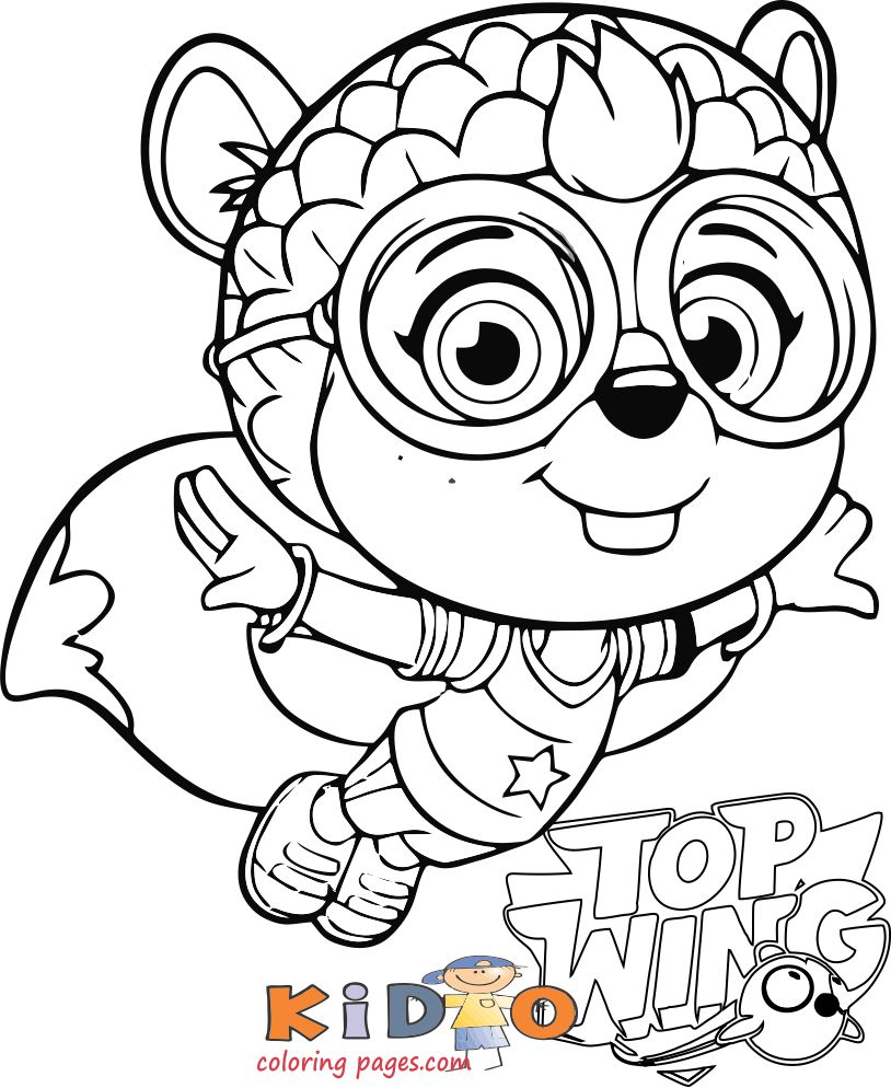 Shirley Squirrely Top Wing Coloring Page