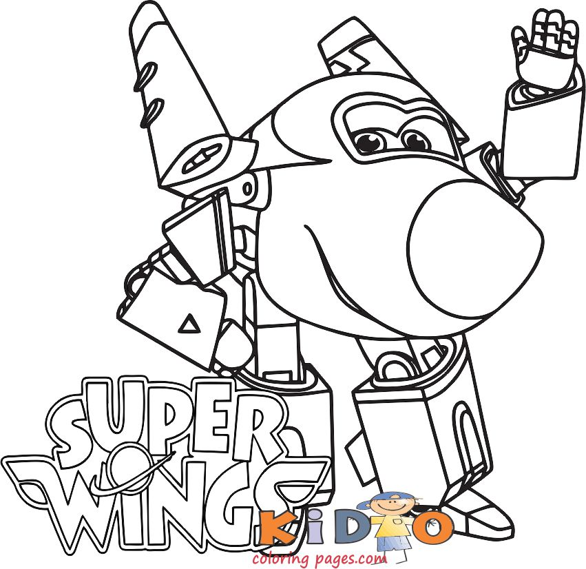 Super Wings Jerome free coloring page print out