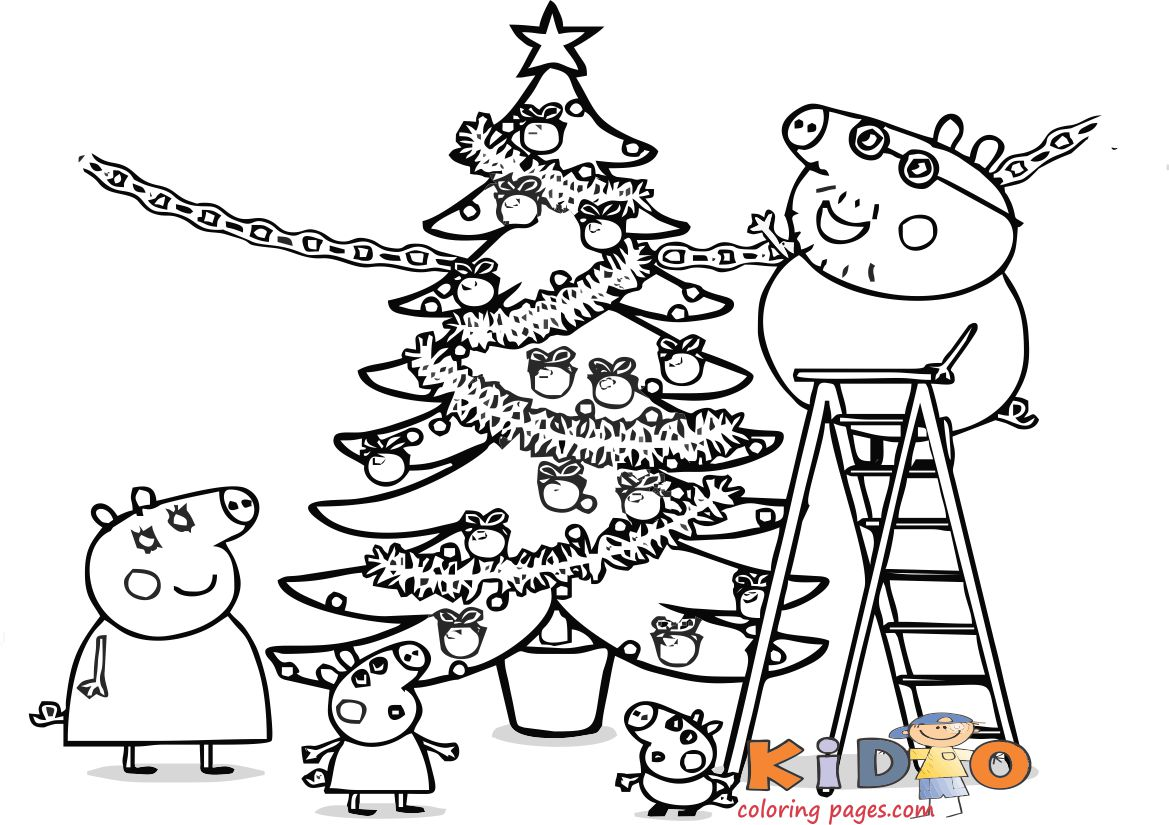 peppa pig drawing easy christmas for kids