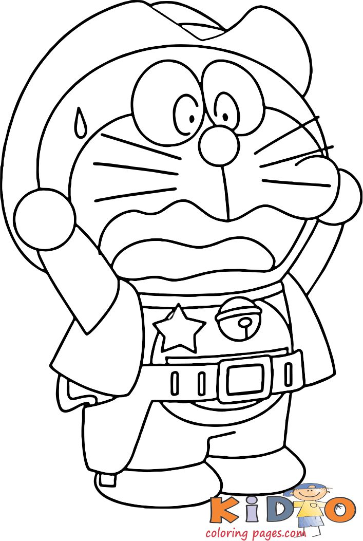 doraemon cowboy coloring pages to print