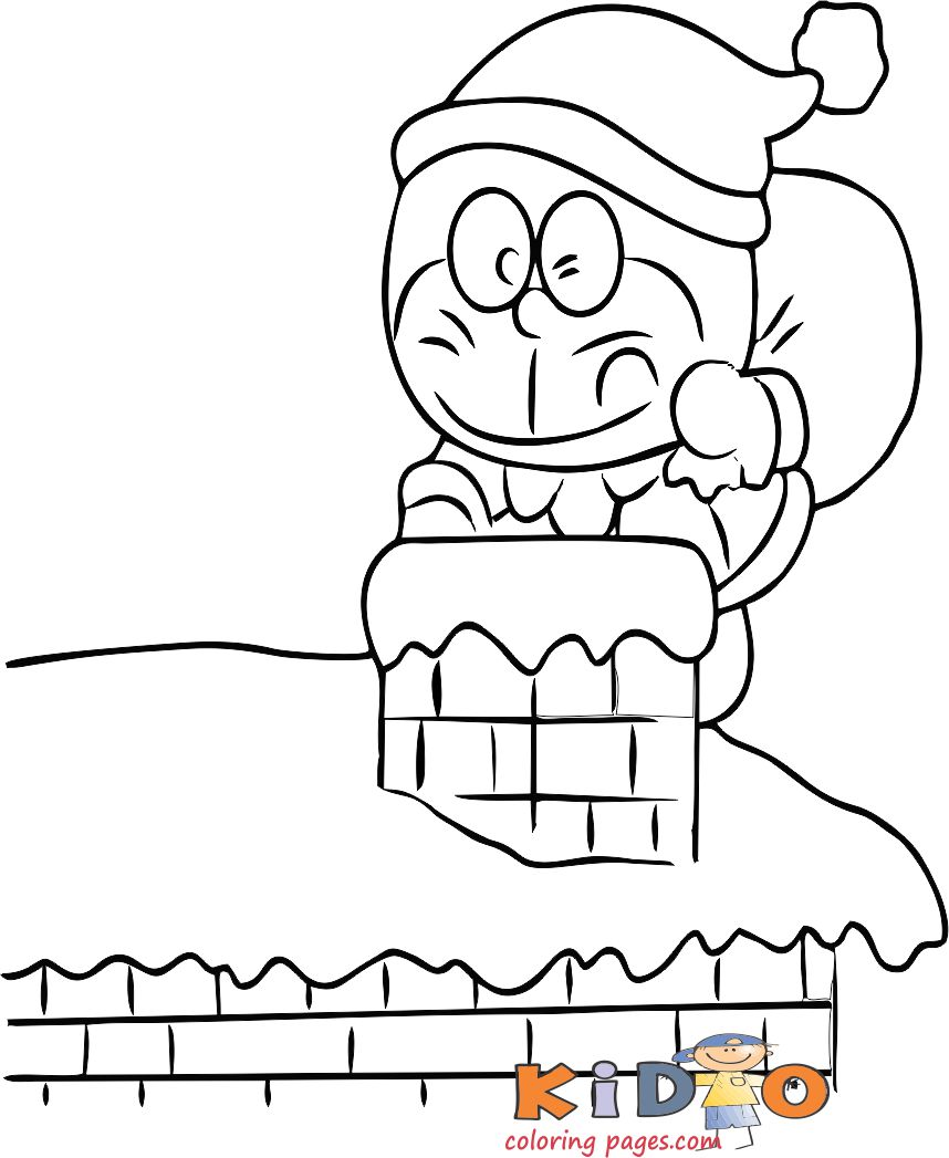 Doraemon santa claus coloring in page