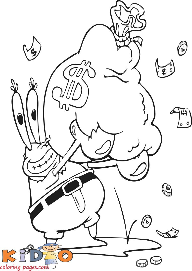 mr krabs spongebob squarepants coloring pages