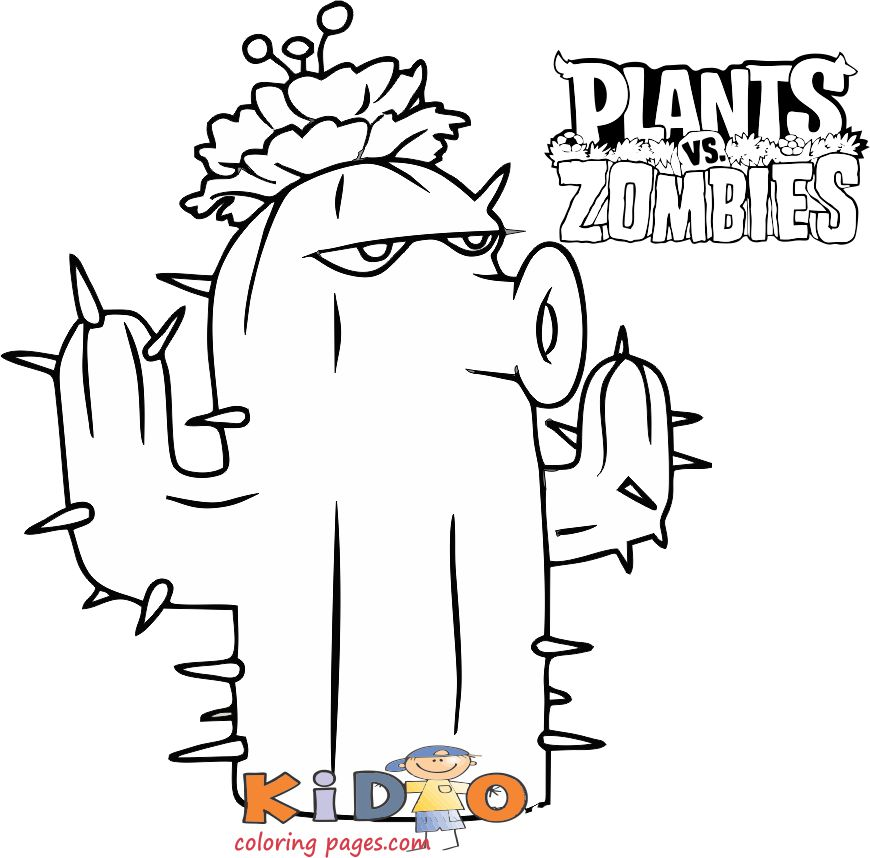 Cactus plants vs zombies coloring pages to print