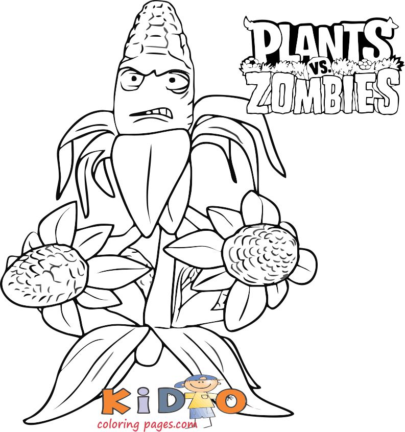 Corporal Corn plants zombies kids coloring pages free