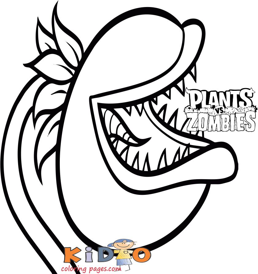 Chomper plants vs zombies coloring page