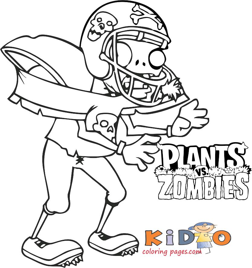 Football zombies coloring pages plants vs zombies