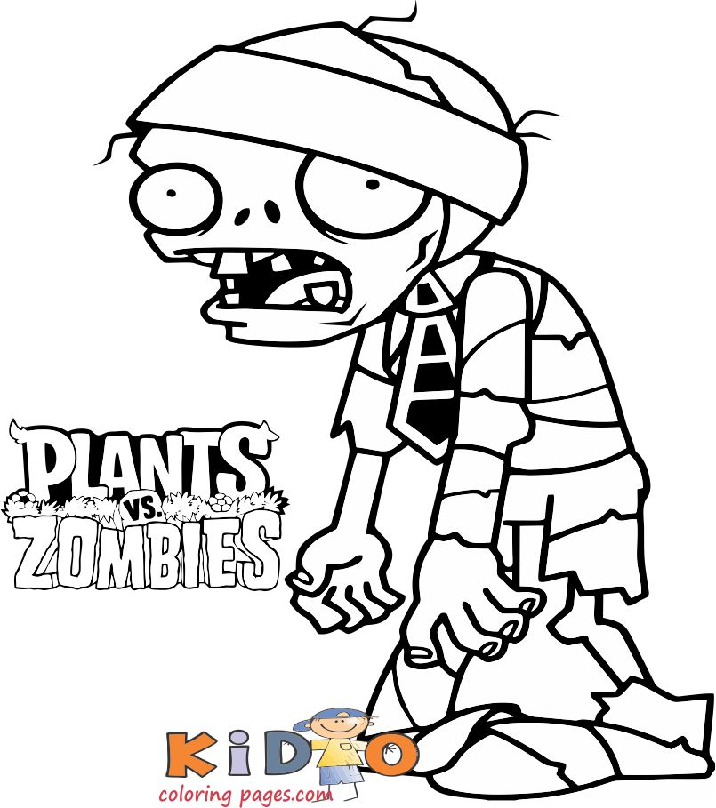 Plants vs mummy zombie colouring sheet
