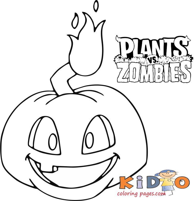 Plants vs zombies pumpkin coloring sheets