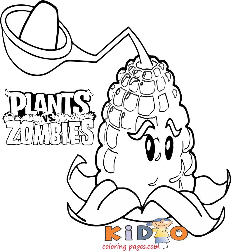 Plants vs Zombies kernel pult coloring pages
