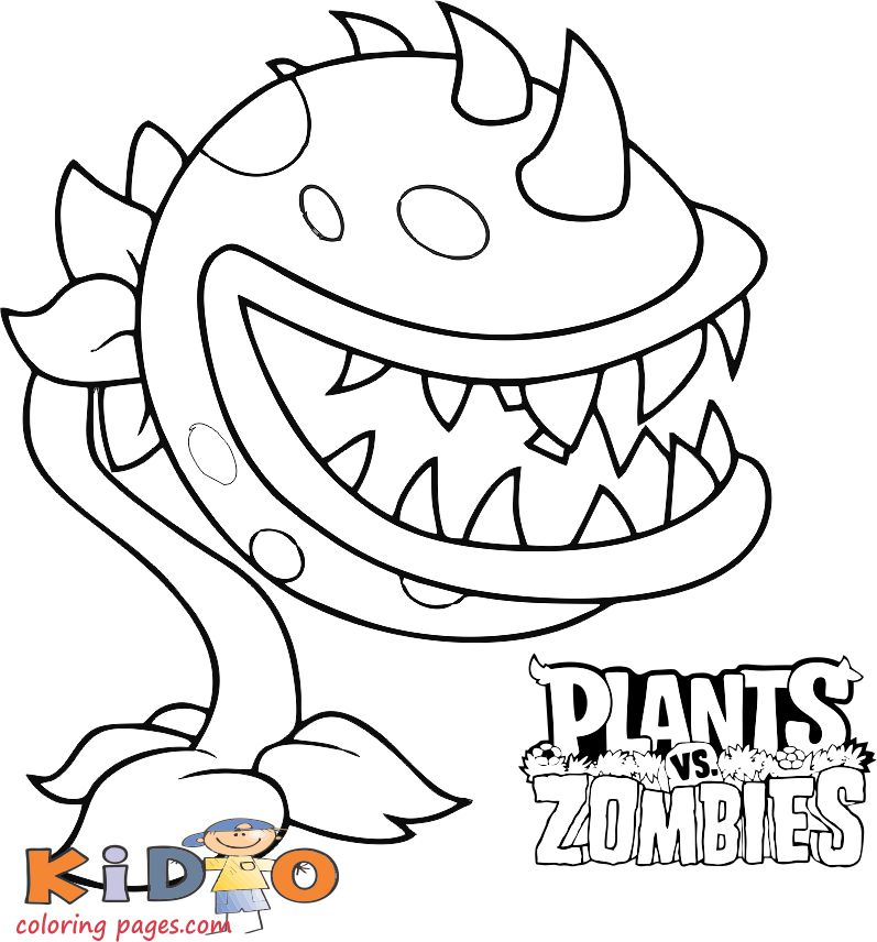 Plants vs Zombies coloring pages chomper