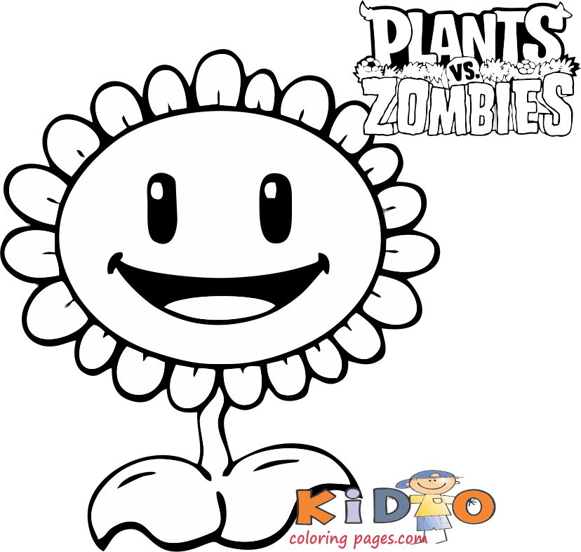 kids coloring pages free plants vs zombies sunflower