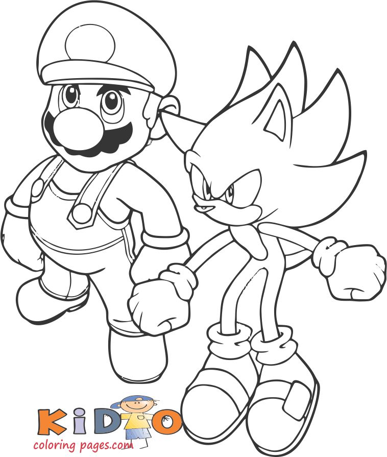 Super mario and Shadow colouring pages