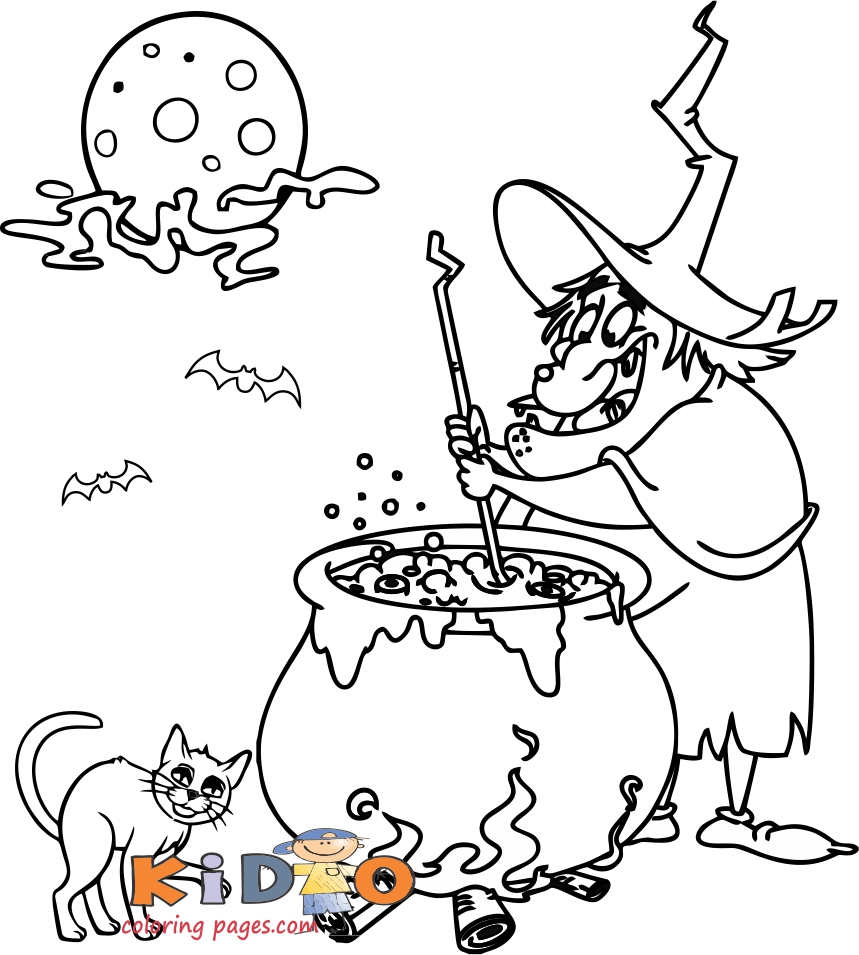 halloween witch coloring pages to print