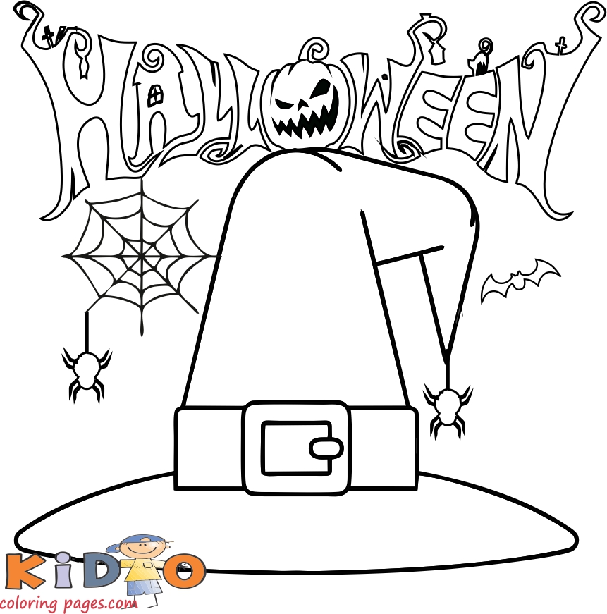witch hat coloring pages to print halloween