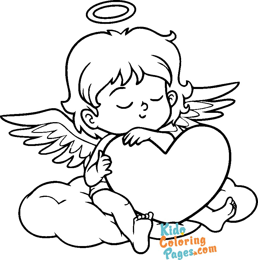 cupid valentines day angel coloring pages to printable