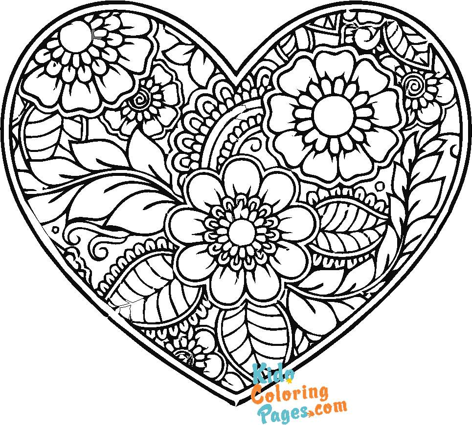 heart coloring pages for adults printaable