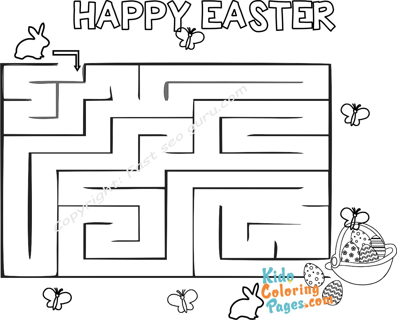 Easy easter maze puzzles printable