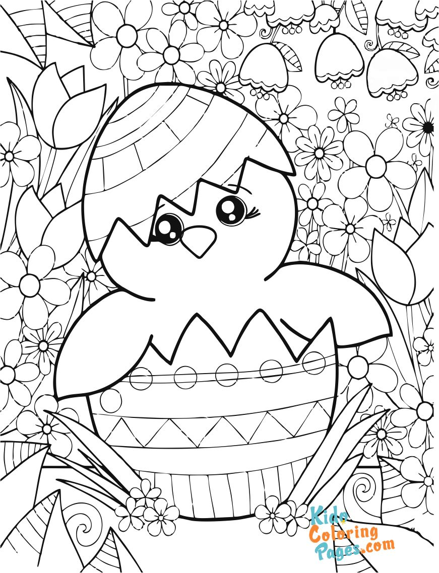 picture to color easter chicken to print