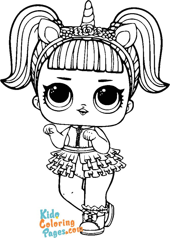 picture to color lol surprise doll unicorn
