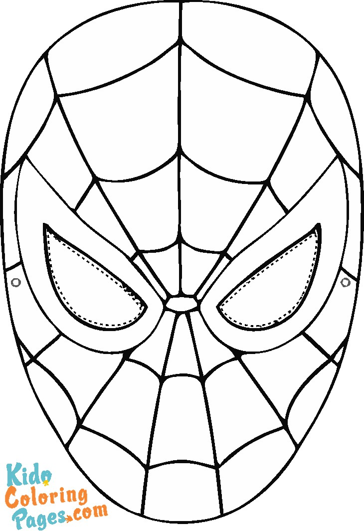 spiderman mask coloring pages to print out for kids