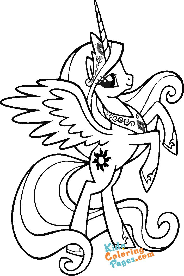 My Little Pony Coloring Pages Princess celestia printable for kids