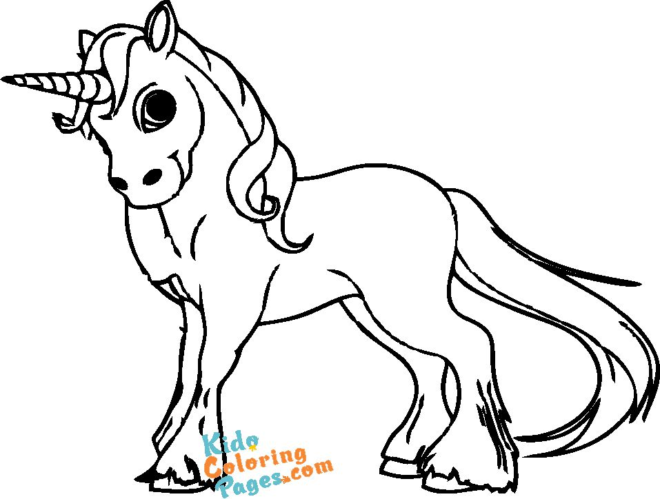 picture to color cute unicorn to printable for kids