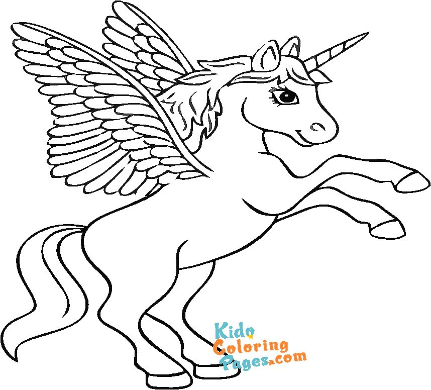 unicorn with wings coloring sheet